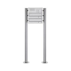 Basic | 2er Standbriefkasten Design BASIC 385 ST-R mit Klingelkasten - Edelstahl V2A, geschliffen | Mailboxes | Briefkasten Manufaktur