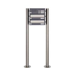 Basic | 2er Standbriefkasten Design BASIC 385 ST-R mit Klingelkasten - Edelstahl-RAL 7016 anthrazitgrau | Mailboxes | Briefkasten Manufaktur