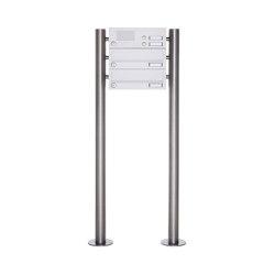 Basic | 2er Standbriefkasten Design BASIC 385-9016 ST-R mit Klingelkasten - RAL 9016 verkehrsweiß | Mailboxes | Briefkasten Manufaktur