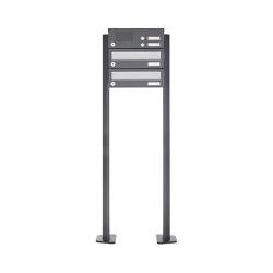 Basic | 2er Standbriefkasten Design BASIC 385P ST-T mit Klingelkasten - Edelstahl-RAL 7016 anthrazit | Mailboxes | Briefkasten Manufaktur
