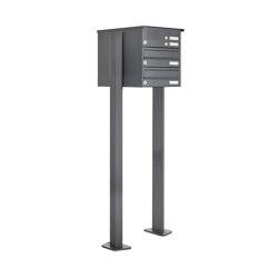 Basic | 2er Standbriefkasten Design BASIC 385P ST-T mit Klingelkasten - RAL 7016 anthrazitgrau | Mailboxes | Briefkasten Manufaktur