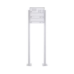 Basic | 2er Standbriefkasten Design BASIC 385P-9016 ST-T mit Klingelkasten - RAL 9016 verkehrsweiß | Mailboxes | Briefkasten Manufaktur