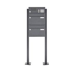 Basic | 2er Standbriefkasten Design BASIC Plus 385 XP 220 SP mit Klingelkasten - RAL nach Wahl | Mailboxes | Briefkasten Manufaktur