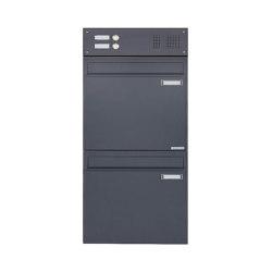 Basic | 2er Zaunbriefkasten BASIC 382 Z - Klingelkasten - Entnahme Rückseitig - RAL 7016 anthrazitgrau Oben | Mailboxes | Briefkasten Manufaktur