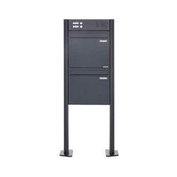 Basic | 2er Zaunbriefkasten freistehend BASIC 380Z-P mit Klingelkasten- RAL 7016 anthrazitgrau | Mailboxes | Briefkasten Manufaktur