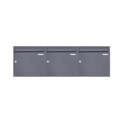 Basic | 3er 1x3 Aufputz Briefkasten Design BASIC 382A AP - DB703 eisenglimmer 100mm Tiefe | Mailboxes | Briefkasten Manufaktur
