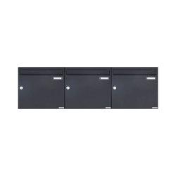 Basic | 3er 1x3 Aufputz Briefkasten Design BASIC 382A AP - RAL 7016 anthrazitgrau 100mm Tiefe | Mailboxes | Briefkasten Manufaktur