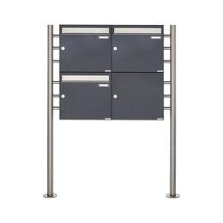 Basic | 3er 2x2 Briefkastenanlage freistehend Design BASIC 381 ST-R - Edelstahl-RAL 7016 anthrazitgrau 100mm Tiefe | Mailboxes | Briefkasten Manufaktur