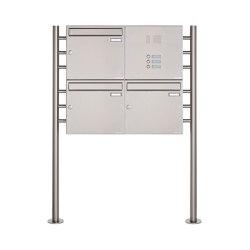 Basic | 3er 2x2 Edelstahl Standbriefkasten Design BASIC 381 ST-R mit Klingelkasten Rechts 100mm Tiefe | Mailboxes | Briefkasten Manufaktur