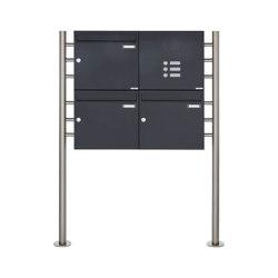 Basic | 3er 2x2 Standbriefkasten Design BASIC 381 ST-R mit Klingelkasten - RAL 7016 anthrazitgrau Rechts 100mm Tiefe | Mailboxes | Briefkasten Manufaktur
