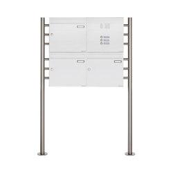 Basic | 3er 2x2 Standbriefkasten Design BASIC 381 ST-R mit Klingelkasten - RAL 9016 verkehrsweiß Rechts 100mm Tiefe | Mailboxes | Briefkasten Manufaktur