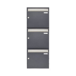 Basic   3er 3x1 Aufputz Briefkastenanlage Design BASIC 382 AP - Edelstahl-RAL 7016 anthrazitgrau 100mm Tiefe   Mailboxes   Briefkasten Manufaktur
