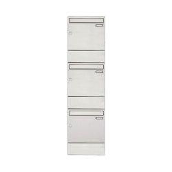 Basic | 3er 3x1 Edelstahl Aufputz Briefkasten BASIC 382A AP mit Zeitungsfach | Mailboxes | Briefkasten Manufaktur