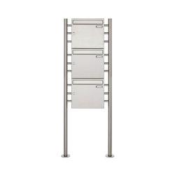 Basic | 3er 3x1 Edelstahl Standbriefkasten Design BASIC 381 ST-R Edelstahl V2A, geschliffen 100mm Tiefe | Mailboxes | Briefkasten Manufaktur