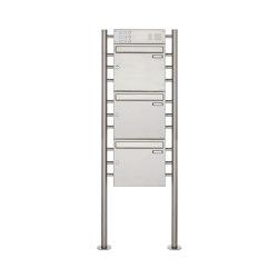Basic | 3er 3x1 Edelstahl Standbriefkasten Design BASIC 381 ST-R mit Klingelkasten Oben 100mm Tiefe | Mailboxes | Briefkasten Manufaktur