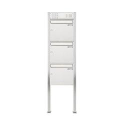 Basic | 3er 3x1 Edelstahl Standbriefkasten Design BASIC 384 ST-Q mit Klingelkasten Oben 100mm Tiefe | Mailboxes | Briefkasten Manufaktur
