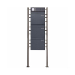 Basic | 3er 3x1 Standbriefkasten als Zaunbriefkasten BASIC 381Z ST R mit Klingelkasten - Entnahme rückseitig Oben | Mailboxes | Briefkasten Manufaktur