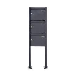 Basic | 3er 3x1 Standbriefkasten Design BASIC 380 ST-T - RAL 7016 anthrazitgrau 100mm Tiefe | Mailboxes | Briefkasten Manufaktur