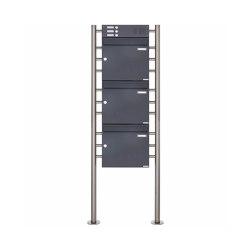 Basic | 3er 3x1 Standbriefkasten Design BASIC 381 ST-R mit Klingelkasten - RAL 7016 anthrazitgrau Oben 100mm Tiefe | Mailboxes | Briefkasten Manufaktur