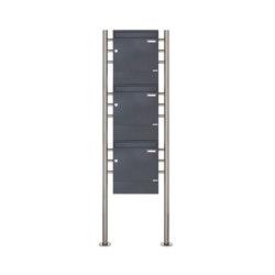 Basic | 3er 3x1 Standbriefkasten Design BASIC 381 ST-R mit Zeitungsfächer - RAL 7016 anthrazitgrau | Mailboxes | Briefkasten Manufaktur