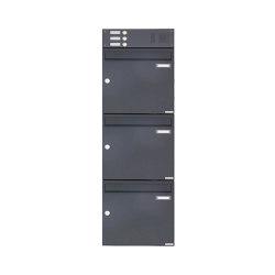 Basic | 3er Aufputz Briefkasten Design BASIC 382A AP mit Klingelkasten - RAL 7016 anthrazitgrau Oben 100mm Tiefe | Mailboxes | Briefkasten Manufaktur