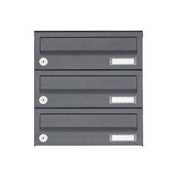 Basic | 3er Aufputz Briefkastenanlage Design BASIC 385A AP - RAL 7016 anthrazitgrau | Mailboxes | Briefkasten Manufaktur