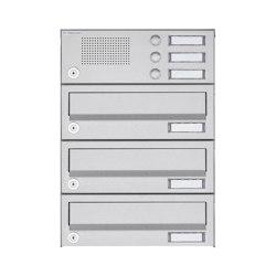 Basic | 3er Aufputz Briefkastenanlage Design BASIC 385A AP mit Klingelkasten - Edelstahl V2A, geschliffen | Mailboxes | Briefkasten Manufaktur