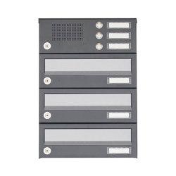 Basic | 3er Aufputz Briefkastenanlage Design BASIC 385A AP mit Klingelkasten - Edelstahl-RAL 7016 anthrazit | Mailboxes | Briefkasten Manufaktur