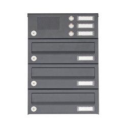 Basic | 3er Aufputz Briefkastenanlage Design BASIC 385A AP mit Klingelkasten - RAL 7016 anthrazitgrau | Mailboxes | Briefkasten Manufaktur