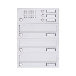 Basic | 3er Aufputz Briefkastenanlage Design BASIC 385A-9016 AP mit Klingelkasten - RAL 9016 verkehrsweiß | Mailboxes | Briefkasten Manufaktur