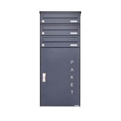Basic | 3er Aufputz Paketbriefkasten BASIC 863 AP mit Paketfach 550x370 in RAL 7016 anthrazitgrau | Mailboxes | Briefkasten Manufaktur