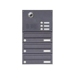Basic | 3er Aufputzbriefkasten BASIC Plus 385 KXA SP mit Klingelkasten - Kameravorbereitung | Mailboxes | Briefkasten Manufaktur