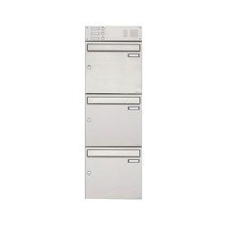 Basic | 3er Edelstahl Aufputz Briefkasten Design BASIC 382A AP mit Klingelkasten Oben 100mm Tiefe | Mailboxes | Briefkasten Manufaktur