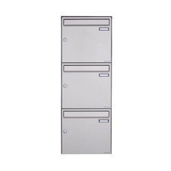 Basic   3er Edelstahl Aufputz Briefkasten Design BASIC Plus 382XA AP - Edelstahl V2A geschliffen 100mm Tiefe   Mailboxes   Briefkasten Manufaktur