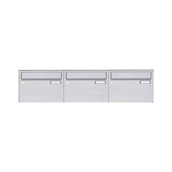 Basic | 3er Edelstahl Aufputz Briefkastenanlage Design BASIC 385 A 220 Waagerecht - Edelstahl V2A | Mailboxes | Briefkasten Manufaktur