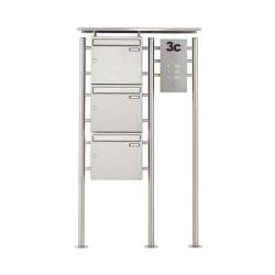 Basic | 3er Edelstahl Standbriefkasten BASIC 311X ST-R mit Klingelkasten Rechts 100mm Tiefe | Mailboxes | Briefkasten Manufaktur