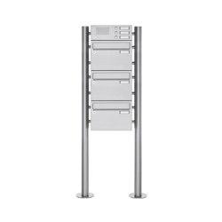 Basic | 3er Edelstahl Standbriefkasten Design BASIC Plus 385 220 ST R mit Klingelkasten | Mailboxes | Briefkasten Manufaktur