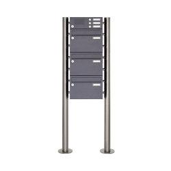 Basic | 3er Edelstahl Standbriefkasten Design BASIC Plus 385 220 ST-R mit Klingelkasten - RAL nach Wahl | Mailboxes | Briefkasten Manufaktur