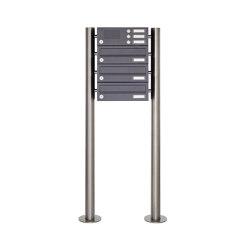 Basic | 3er Edelstahl Standbriefkasten Design BASIC Plus 385 X ST-R mit Klingelkasten - RAL nach Wahl | Mailboxes | Briefkasten Manufaktur