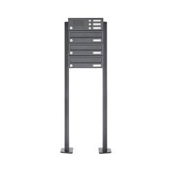 Basic | 3er Edelstahl Standbriefkasten Design BASIC Plus 385 XP SP mit Klingelkasten - RAL nach Wahl | Mailboxes | Briefkasten Manufaktur