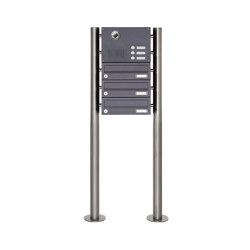 Basic | 3er Edelstahl Standbriefkasten Design BASIC Plus 385KX ST-R mit Klingel & Sprech- Kameravorbereitung | Mailboxes | Briefkasten Manufaktur