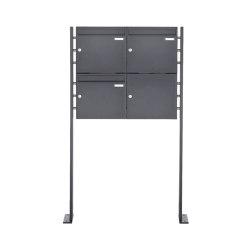Basic | 3er Edelstahl Standbriefkastenanlage BASIC Plus 384XP ST-P pulverbeschichtet | Mailboxes | Briefkasten Manufaktur