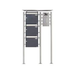 Basic | 3er Standbriefkasten BASIC 311X ST-R mit Klingelkasten - Edelstahleinwurf - RAL nach Wahl Rechts 100mm Tiefe | Mailboxes | Briefkasten Manufaktur