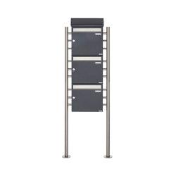 Basic | 3er Standbriefkasten BASIC 383 ST-R mit Zeitungsfach - Edelstahl- RAL 7016 anthrazitgrau 100mm Tiefe | Mailboxes | Briefkasten Manufaktur