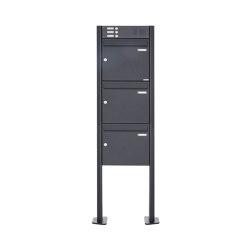 Basic | 3er Standbriefkasten Design BASIC 380 ST-T mit Klingelkasten - RAL 7016 anthrazitgrau 100mm Tiefe | Mailboxes | Briefkasten Manufaktur