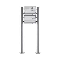 Basic | 3er Standbriefkasten Design BASIC 385 ST-R mit Klingelkasten - Edelstahl V2A, geschliffen | Mailboxes | Briefkasten Manufaktur