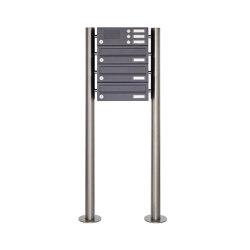 Basic | 3er Standbriefkasten Design BASIC 385 ST-R mit Klingelkasten - RAL 7016 anthrazitgrau | Mailboxes | Briefkasten Manufaktur