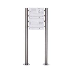 Basic | 3er Standbriefkasten Design BASIC 385-9016 ST-R mit Klingelkasten - RAL 9016 verkehrsweiß | Mailboxes | Briefkasten Manufaktur