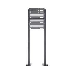 Basic | 3er Standbriefkasten Design BASIC 385P ST-T mit Klingelkasten - Edelstahl-RAL 7016 anthrazit | Mailboxes | Briefkasten Manufaktur