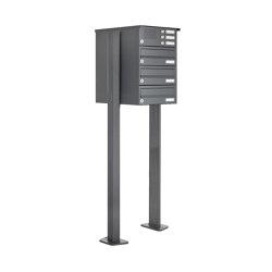 Basic | 3er Standbriefkasten Design BASIC 385P ST-T mit Klingelkasten - RAL 7016 anthrazitgrau | Mailboxes | Briefkasten Manufaktur